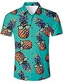 RAISEVERN Ananas Print Hawaiian Shirt Sommer Hip Hop Stil Obst Shorts Herren,Grün