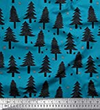 Soimoi Blau Baumwoll-Popeline Stoff Schnee- und Zeder Baum