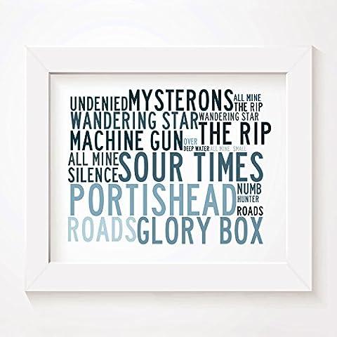 'Crystalline` Poster Affiche d'art - PORTISHEAD - Edition signée et numérotée limitée typographie non encadré 20 x 25 cm la musique album mur art haute qualité d'impression - Song lyrics music poster