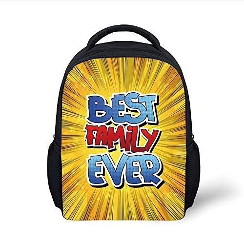 Kids School Backpack Family,Comic Book Style Best Family Ever Words on Abstract Cartoon Backdrop Graphic,Blue Red Yellow Plain Bookbag Travel Daypack - Beste Rucksack Sprayer