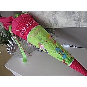 Meerjungfrauen grün-pink Schultüte Stoff + Papprohling + als Kissen verwendbar