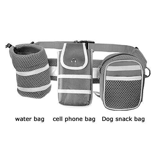 Ploopy Joggingleine aus Nylon für Sportliche Hundebesitzer mit Verstellbarem Bauchgurt. Für Stressfreies Joggen mit Dem Hund, Hände Bleiben Frei Jogging Hundeleine und 3 Tasche Grau -