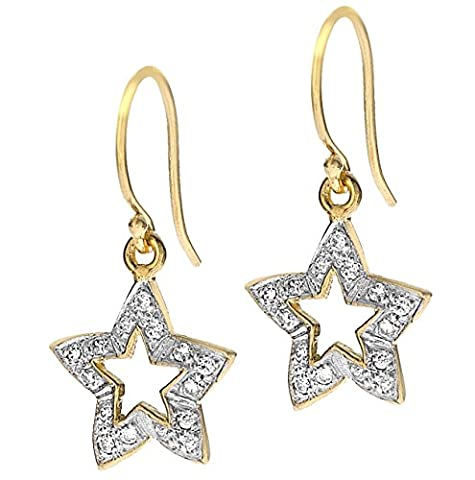Dower & Hall Severine Yellow Gold Plated on Silver White Topaz Open Star Drop Earrings of Length