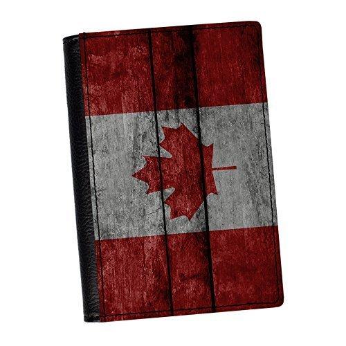 Preisvergleich Produktbild Holz-Grunge Flagge Canada Kanada Flagge: hochwertiges Kunstleder,  Reisepass-Schutzhülle World Flaggen