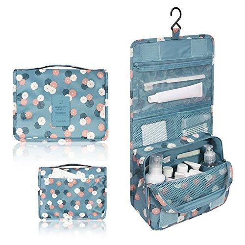 Lokep étanche kit de voyage Organiseur de salle de bain Stockage Cosmétique Sac Housse de transport Trousse de toilette avec crochet de suspension pour homme et femme, Daisy Mint