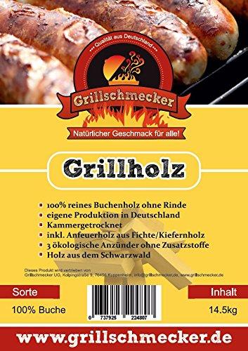 Grillholz Buche ohne Rinde incl. Anzünder und Anfeuerholz von Grillschmecker