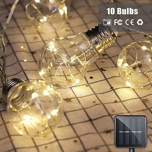 AITOO Lampadine Solari Per Esterni - a Energia Solare - 10 Lampadine a LED a 50 Fili Di Stringa LED - Modalità Impermeabili 8 Per l'Iarda Del Patio Di Casa