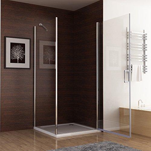 Duschkabine mit 180 Grad Schwingtür, 90 x 75 (Seitenwand) x 195cm im Vergleich - 3