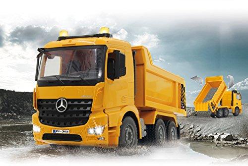 Jamara 404940 - Muldenkipper Mercedes-Benz Arocs 2,4 GHz - Kippmulde hoch / runter, realistischer Motorsound, Hupe, Rückfahrwarnsound, 4 Radantrieb, gelbe LED Signallichter, programmierbare Funktionen - 2