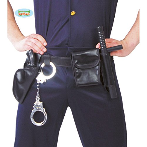 NET TOYS Ceinture de Police avec Accessoires   Etui avec Menottes, Sac, Pistolet, bâton   Ceinture de Police Carnaval   Accessoires Policier