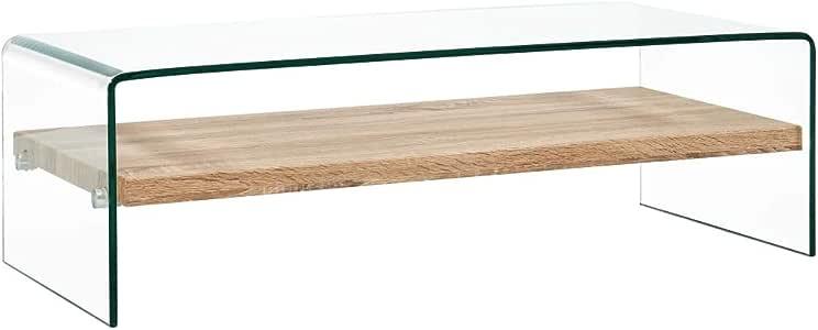vidaXL Couchtisch Weiß Marmor 98x45x31cm Hartglas Beistelltisch Glastisch