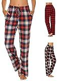 Doneto Damen Schlafanzughose Pyjama Hose Lang Soft Flanell Plaid Schlaf Bottoms mit elastischer Taille (Blau Größe:L)