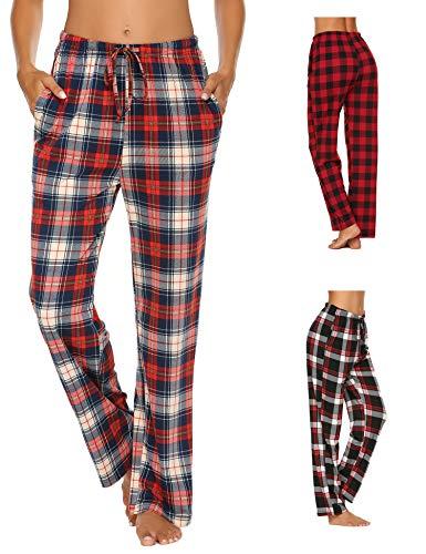 Doneto Damen Schlafanzughose Pyjama Hose Lang Soft Flanell Plaid Schlaf Bottoms mit elastischer Taille (Blau Größe:M) - Bottom-hose