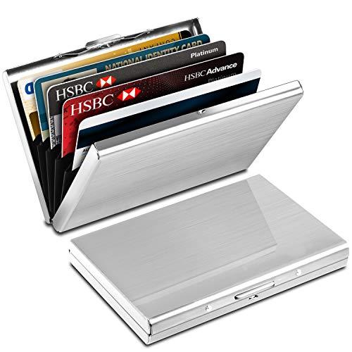 Porte-Carte de Crédit en Aluminium,Yosemy Etui de Carte de Visite Slim Métal de Blocage RFID, 6 Slots pour Vos Cartes de Crédit, 2 Pièces, Argent