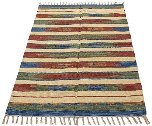 Galleria farah1970 - 200x140 cm kilim autentico, originale e fatto a mano ideale per la sala , salotto , ufficio , seconda casa e la cucina (lavabile in lavatrice)
