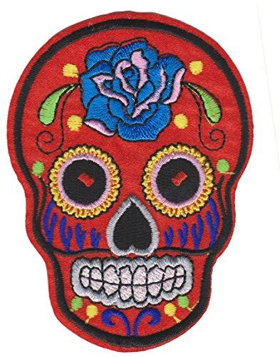 Mexikanischer Totenkopf Schädel Tag der Toten Blaue Rose/ROT vom PatchWOW Embroidered Iron on Flicken zum Aufbügeln