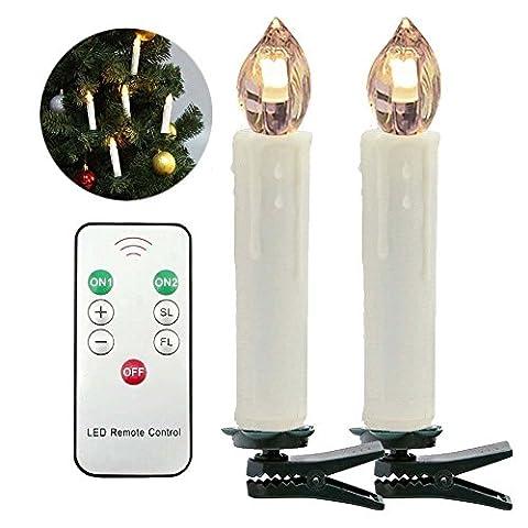 KOBWA 10er LED Kerzen Dimmbar Kerzenlichter Flammenlose Weihnachtskerzen Lichterkette für Weihnachtsbaum, Weihnachtsdeko, Hochzeit, Geburtstags,