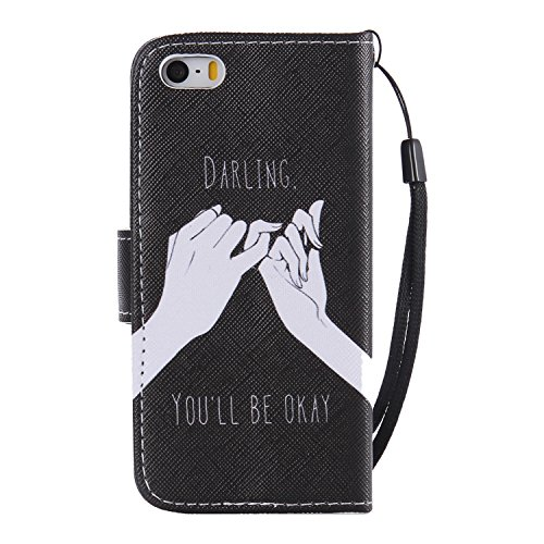 Hülle für iPhone SE, Tasche für iPhone 5 5S, Case Cover für iPhone 5 5S SE, ISAKEN Malerei Muster Folio PU Leder Flip Cover Brieftasche Geldbörse Wallet Case Ledertasche Handyhülle Tasche Case Schutzh Haende Versprechen