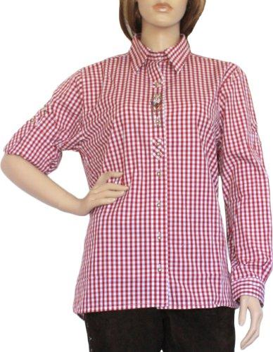 Trachtenbluse Damen Trachten lederhosen-bluse Trachtenmode ROT kariert, Größe:44