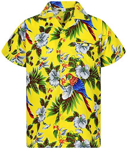 V.H.O. Funky Hawaiihemd, Kurzarm, Kirsch Papagei, gelb, M