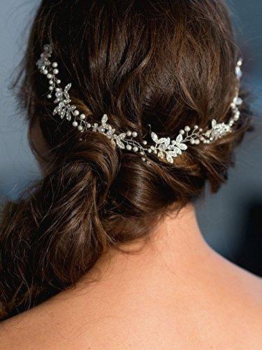 Handmadejewelrylady - Serre-tête pour mariage en strass, cristal - coiffe de mariage, accessoire de cheveux pour soirée, fête, mariage - Pour femme.