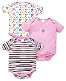 #10: Bornbabykids Cotton Rompers/Summer Suit/Bodysuit, Pack Of 3 (9-12 Months, Pink_BBK-MBY-BS-PNK)