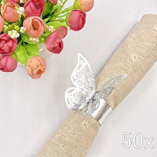 JZK® 50 x Metallähnlicher Silber Schmetterling Perle Papier Serviettenringe Tischdekoration Set, für Hochzeit Taufe Geburtstag Party Weihnachten Abendessen Serviette Ringe Dekoration (Silber)