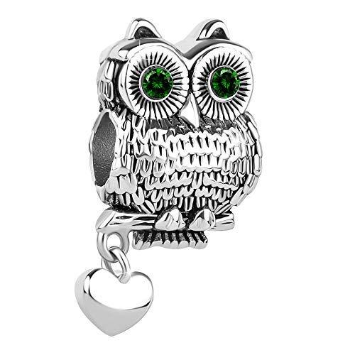Korliya owl lucky animal charm per braccialetti e rame, colore: green, cod. emw_dpc_my945