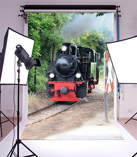 YongFoto 2x3m Toile de Fond Locomotive Vintage Train Chemin Fer des Pistes Panneau signalisation Jungle des Arbres Enfumé Nature Fond Décors Studio Photo Portrait Fete Mariage Photographie Accesorios