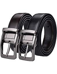 2a30ae092b6d Xhtang Ceinture réversible pour homme en cuir ceinture en noire mode  ceinture chic le costume et