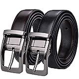 Xhtang Ceinture réversible pour homme en cuir ceinture en noire mode ceinture chic le costume et aussi pour les jeans (130cm de tour de taille 36''-45'', Brun noir 2)
