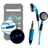 Ecouteurs LED bleus pour Archos 50 Saphir, 50f Helium Lite, Archos 50f Helium et 55 Diamond Selfie Lite smartphones – luminescents + micro intégré, par DURAGADGET