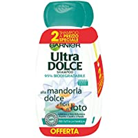 Garnier Ultra Dolce Shampoo alla Mandorla Dolce e Fiori di Loto per Tutta La Famiglia, Senza Parabeni, Coloranti e Siliconi, 300 ml [Confezione da 2]