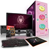Fierce Kawaii Kraze RGB Gaming PC Bundeln - Schnell 4 x 3.7GHz Quad-Core AMD Ryzen 3 2200G, 1TB Festplatte, 8GB von 2133MHz DDR4 RAM / Speicher, AMD Radeon Vega 8 integrierte grafik, Gigabyte Ultra-Durable GA-A320M-S2H Hauptplatine, GameMax Draco with Sweet Treat HD Armour RGB Computergehäuse, HDMI, USB3, Wi - Fi, Perfekt für Wettkampfspiele, Windows nicht Enthalten, Tastatur (VK/QWERTY), Maus, 24-Zoll-Monitor, Lautsprecher, 3 Jahre Garantie 959246