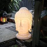 GardenKraft Polyresin Buddha-Kopf, LED-, Garten-Dekoration, Cremefarben