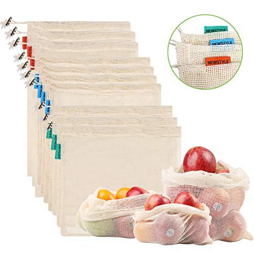 Bolsas de malla de algodón natural Reutilizable, reciclable, lavable, cero desperdicio y fácil de llevar 🍃 Las bolsas de productos reutilizables NEWSTYLE están hechas de material biodegradable de malla de algodón 100% duradero y no contienen ning...