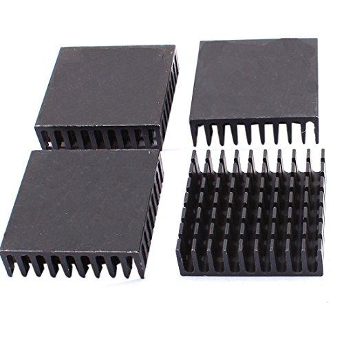 sourcingmap® 4Stk 40x40x11mm Aluminium Quadrat Kühlkörper Kühlung Kühler Fin Schwarz