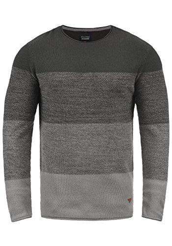 Blend Benno Herren Strickpullover Feinstrick Pullover Mit Rundhalsausschnitt Aus 100% Baumwolle, Größe:L, Farbe:Pewter Mix (70817)