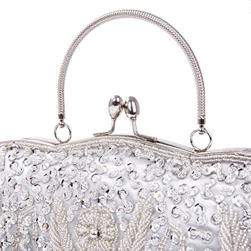Baglamor Fashion Perlen Handtasche Winter Handtasche Kissing Lock Tasche Satin Abend Kupplung Silber