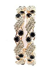 Aria Party Wear CZ Gold Plated 2pc Screw Bangles For Women L1104