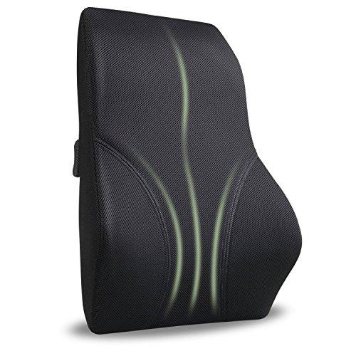 amzdeal Rückenkissen Rückenunterstützung Kissen Lendenkissen für Bürostuhl und Chefsessel Schwarz