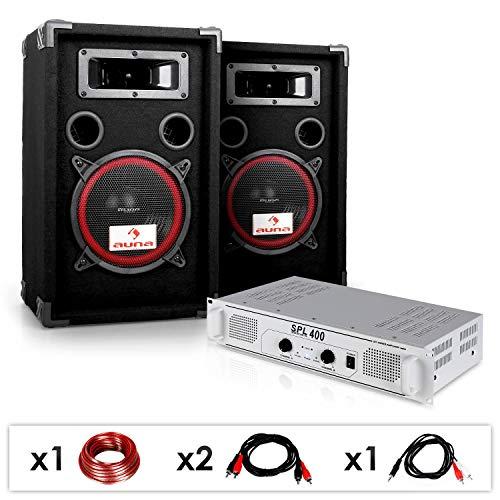 DJ PA Set DJ-15 • PA-Verstärker 400 Watt • Subwoofer • Lautsprecher 1000 Watt • bis zu 150 Personen • transportsicher • Bassreflex-Bauweise • 19