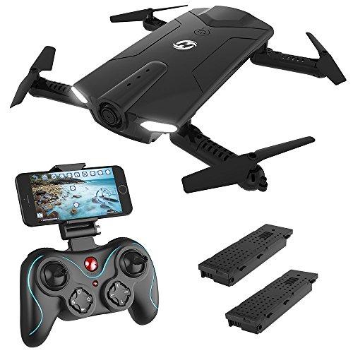 Holy Stone Drone Pieghevole FPV 720P HS160 Droni Tascabile con Telecamera HD Live Sistema di Stabilizzazione Quadricottero Remoto No GPS con Controllo Automatico Dell\'altezza Nero, 2 Batterie
