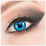 Farbige 'Alper' Kontaktlinsen von 'Evil Lens' zu Fasching Karneval Halloween 1 Paar Blau Crazy Fun mit Behälter in Topqualität mit Stärke -4,00