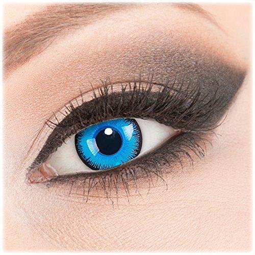 Farbige weiße Crazy Fun Kontaktlinsen 1 Paar 'Alper' mit Behälter - Topqualität von 'Evil Lens' zu Fasching Karneval Halloween mit Stärke -4,00