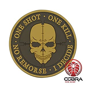 Cobra Tactical Solutions One Shot * One Kill * No Remorse * I Decide 3D PVC sniper skull tête de mort Patch Hook & Loop Airsoft