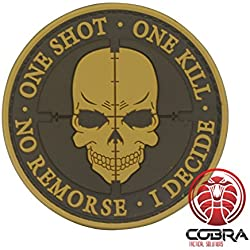 One Shot * One Kill * No Remorse * I Decide 3D PVC Sniper Patch Brown with velcro for airsoft, tactical clothing