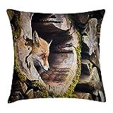 Xukmefat Animal Decor Throw Pillow Cushion Cover, True Fox Vulpes Inside Wood Log Holes Exotic Furry Creature Wildlife Creature Design Tan