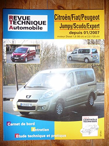 RRTAB0728.5 – REVUE TECHNIQUE AUTOMOBILE CITROEN JUMPY – FIAT SCUDO – PEUGEOT EXPERT depuis 10/2007 Diesel 1.6l 90cv et 2.0l 120cv