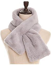 TOOGOO(R) Women's Faux Rabbit Fur Scarf Autumn Winter Scarves gray